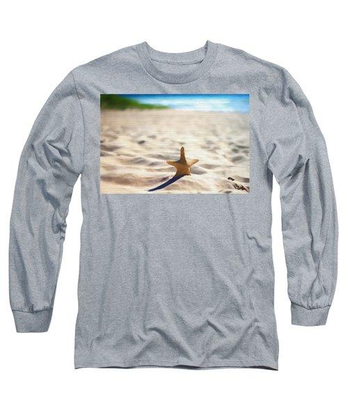 Beach Starfish Wood Texture Long Sleeve T-Shirt