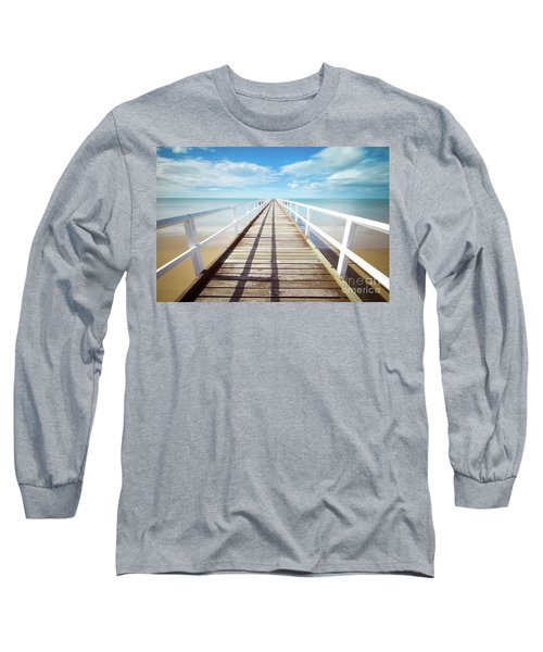 Long Sleeve T-Shirt featuring the photograph Beach Walk by MGL Meiklejohn Graphics Licensing