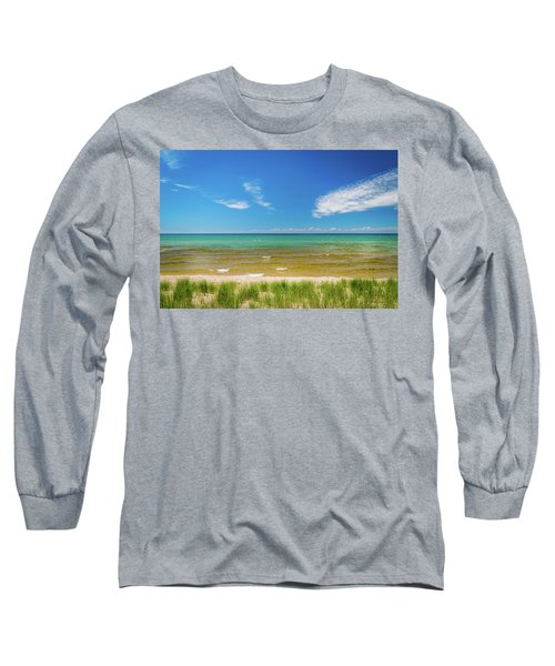 Beach With Blue Skies And Cloud Long Sleeve T-Shirt