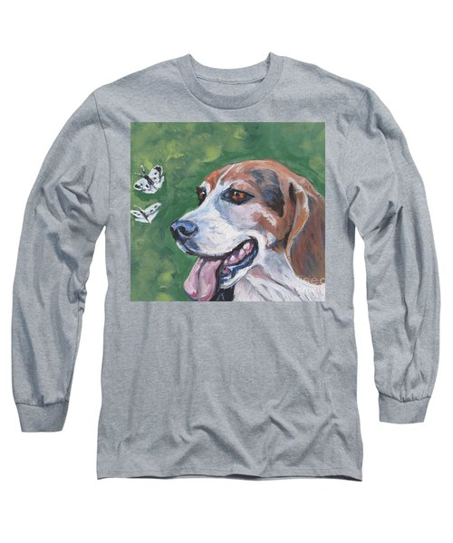 Long Sleeve T-Shirt featuring the painting Beagle And Butterflies by Lee Ann Shepard