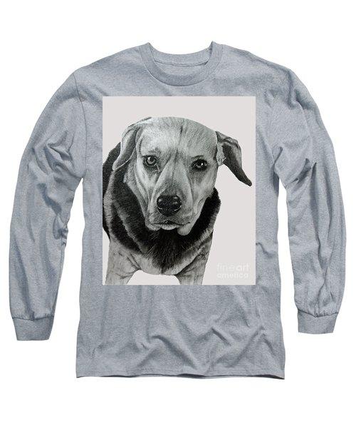 Long Sleeve T-Shirt featuring the drawing Beagle-shepherd Mix by Terri Mills