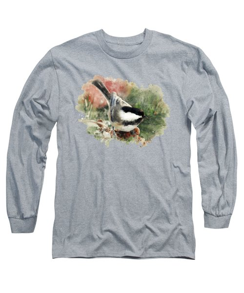 Long Sleeve T-Shirt featuring the mixed media Beautiful Chickadee - Watercolor Art by Christina Rollo