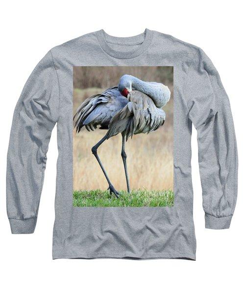 Beautiful Preening Sandhill Crane Long Sleeve T-Shirt