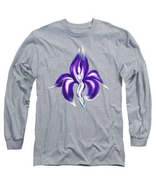 Beautiful Purple Dancing Lady Flower Artistic Illustration Art Photo Print Long Sleeve T-Shirt by Awen Fine Art Prints
