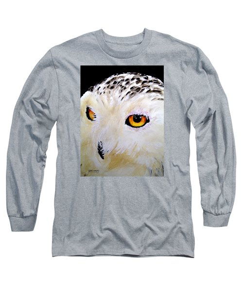 Long Sleeve T-Shirt featuring the painting Beautiful Snowy Owl by Carol Grimes