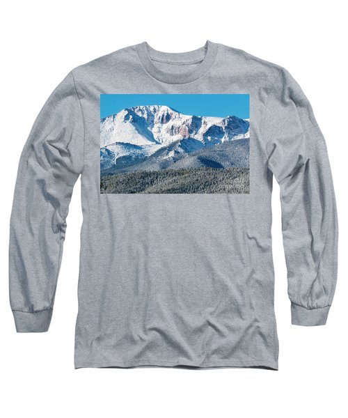 Beautiful Spring Snow On Pikes Peak Colorado Long Sleeve T-Shirt
