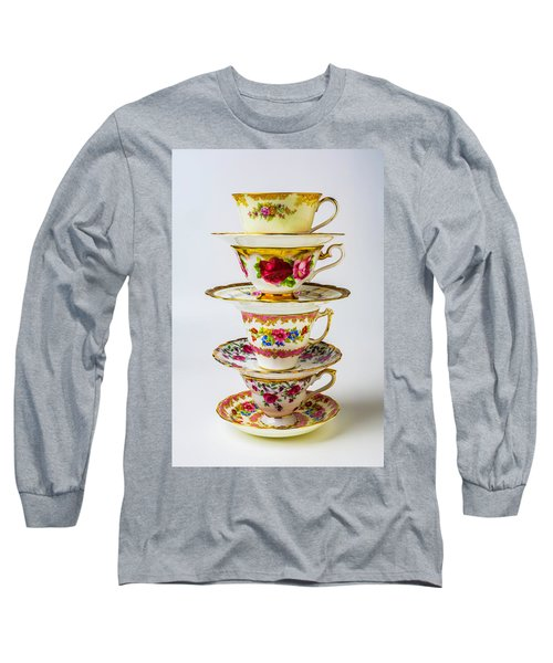 Beautiful Stacked Tea Cups Long Sleeve T-Shirt