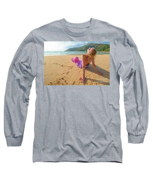 Beautiful Woman Sunbathing On Beach Long Sleeve T-Shirt