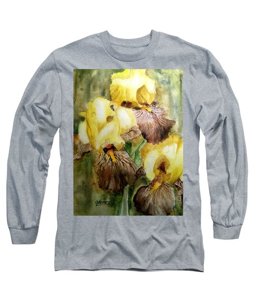Long Sleeve T-Shirt featuring the painting Beautiful Yellow Iris by Carol Grimes
