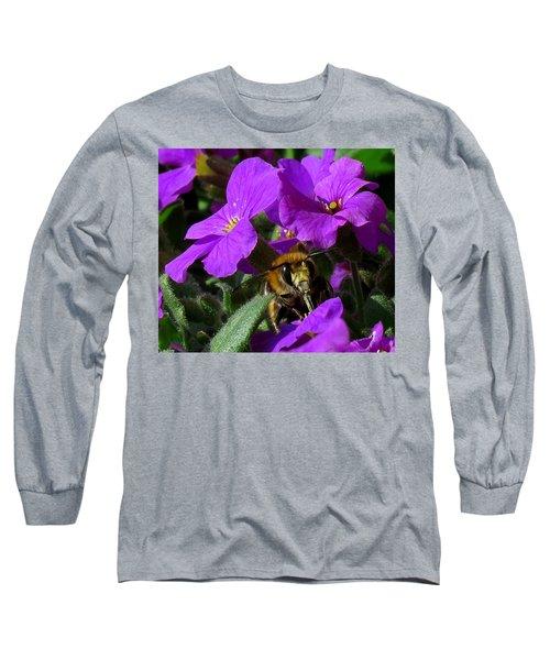 Bee Feeding On Purple Flower Long Sleeve T-Shirt