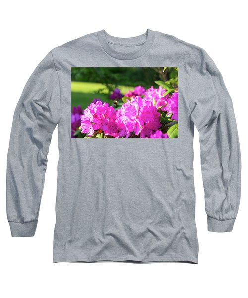 Bee Flying Over Catawba Rhododendron Long Sleeve T-Shirt