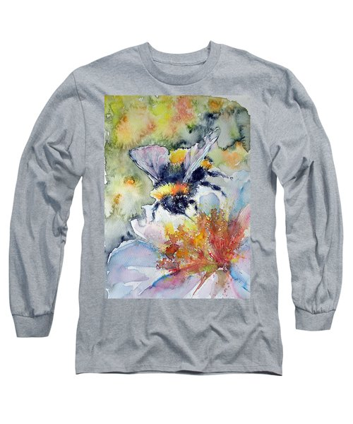 Bee On Flower Long Sleeve T-Shirt by Kovacs Anna Brigitta