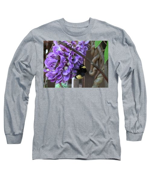 Bee On Native Wisteria Long Sleeve T-Shirt by Angela Annas