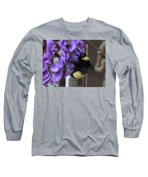Bee On Native Wisteria I Long Sleeve T-Shirt by Angela Annas