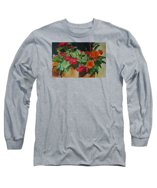 Begonias Flowers Colorful Original Painting Long Sleeve T-Shirt by Elizabeth Sawyer
