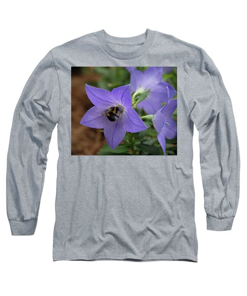 Long Sleeve T-Shirt featuring the photograph Bellflower And Bee  by Marie Hicks