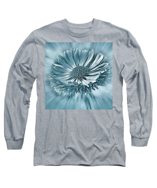 Bellis In Cyan  #flower #flowers Long Sleeve T-Shirt