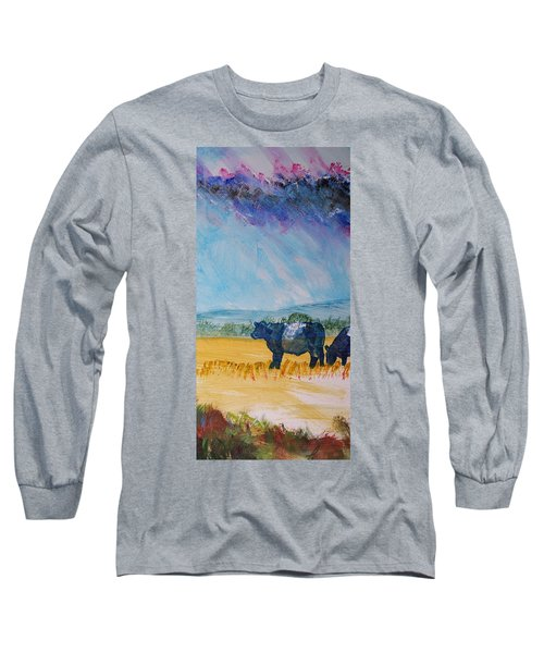 Belted Galloway Cows Narrow Painting Long Sleeve T-Shirt