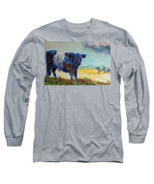 Belted Galloway Cows Painting - About To Rain Long Sleeve T-Shirt