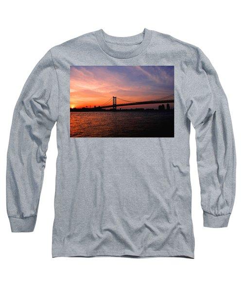 Ben Franklin Bridge Sunset Long Sleeve T-Shirt