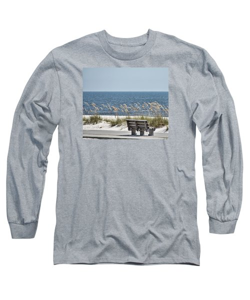 Bench At The Beach Long Sleeve T-Shirt by Cathy Jourdan