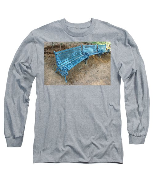 Long Sleeve T-Shirt featuring the photograph Benches And Blues by Prakash Ghai
