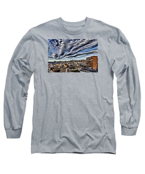 Benidorm Old Town Aerial View Long Sleeve T-Shirt by Mick Flynn