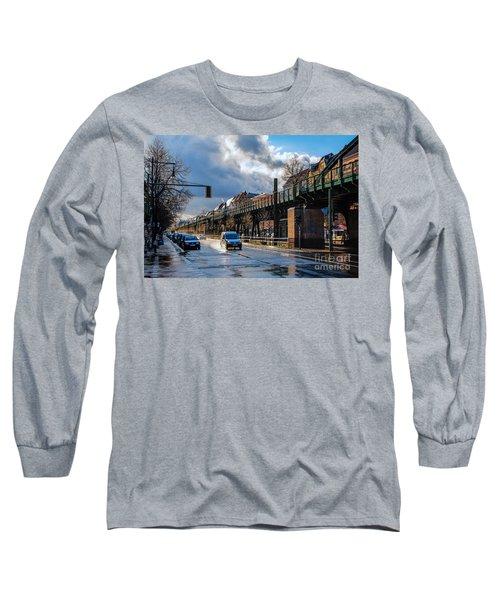 Long Sleeve T-Shirt featuring the photograph Berlin Street After Rain by Jivko Nakev