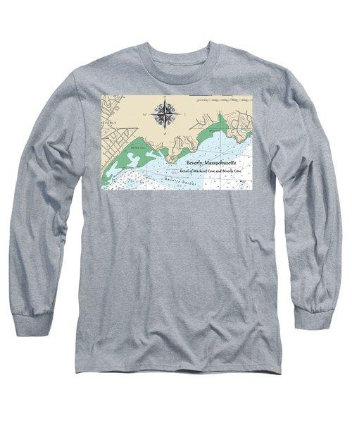Beverly Cove Nautical Map Long Sleeve T-Shirt