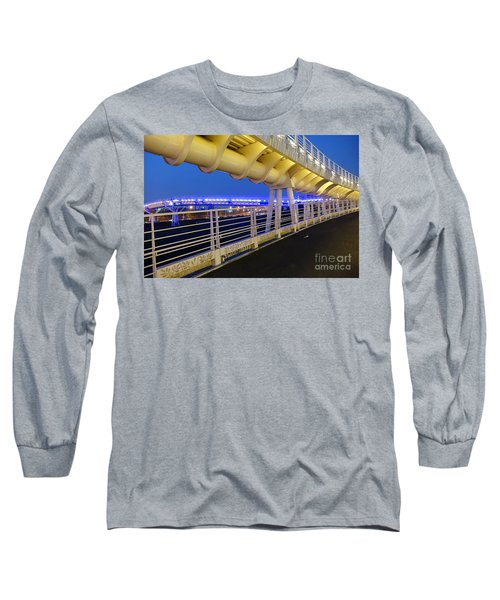 Long Sleeve T-Shirt featuring the photograph Bicycle And Pedestrian Overpass by Yali Shi