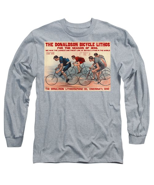 Long Sleeve T-Shirt featuring the photograph Bicycle Lithos Ad 1896 by Padre Art