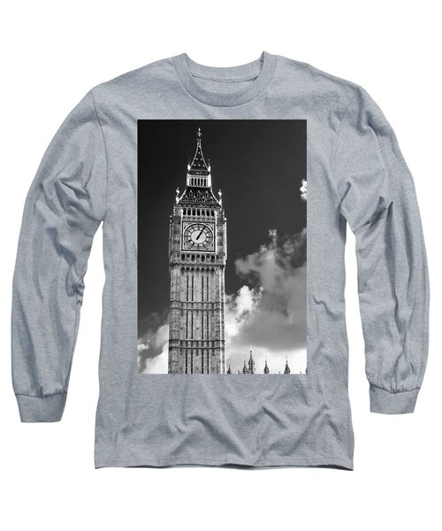Big Ben And Clouds Bw Long Sleeve T-Shirt