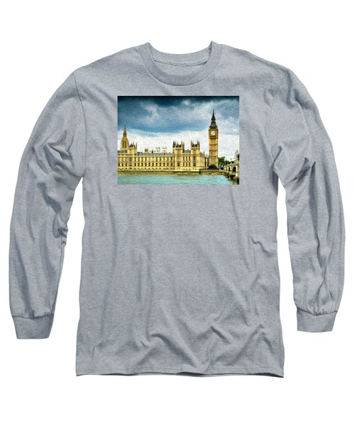 Big Ben And Houses Of Parliament With Thames River Long Sleeve T-Shirt
