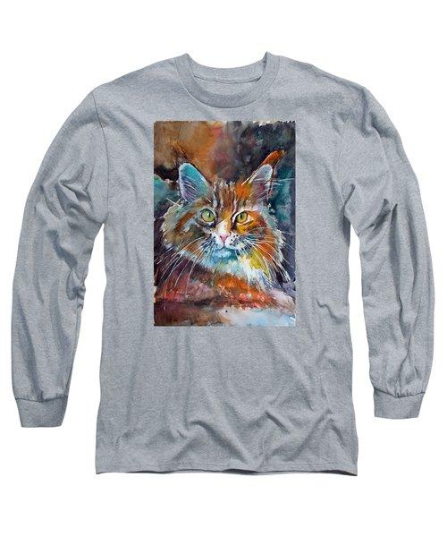 Big Cat Long Sleeve T-Shirt by Kovacs Anna Brigitta