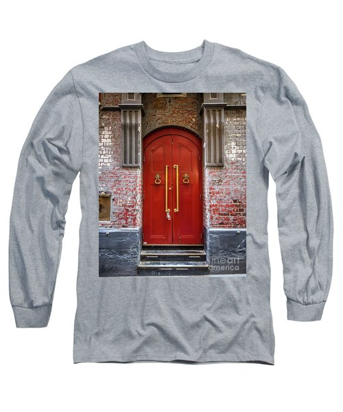 Long Sleeve T-Shirt featuring the photograph Big Red Doors by Perry Webster