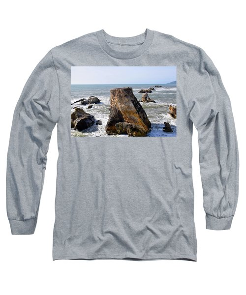 Long Sleeve T-Shirt featuring the photograph Big Rocks In Grey Water by Barbara Snyder