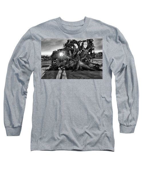 Big Tree On The Beach At Sunrise In Monochrome Long Sleeve T-Shirt