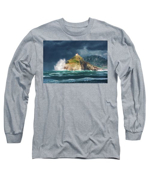 Big Waves Over San Juan De Gaztelugatxe Long Sleeve T-Shirt