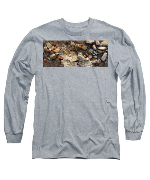 Birch Bark And Ice In The Creek Four  Long Sleeve T-Shirt