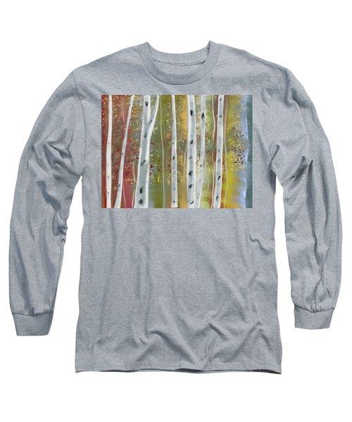 Long Sleeve T-Shirt featuring the digital art Birch Forest by Paula Brown