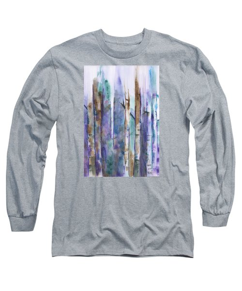 Birch Trees Abstract Long Sleeve T-Shirt by Frank Bright