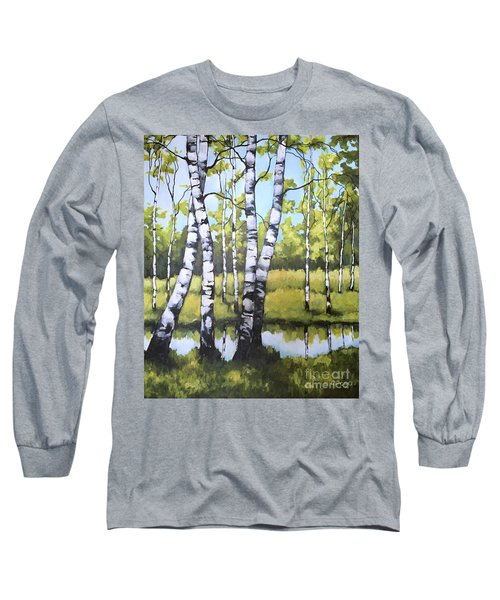 Long Sleeve T-Shirt featuring the painting Birches In Spring Mood by Inese Poga