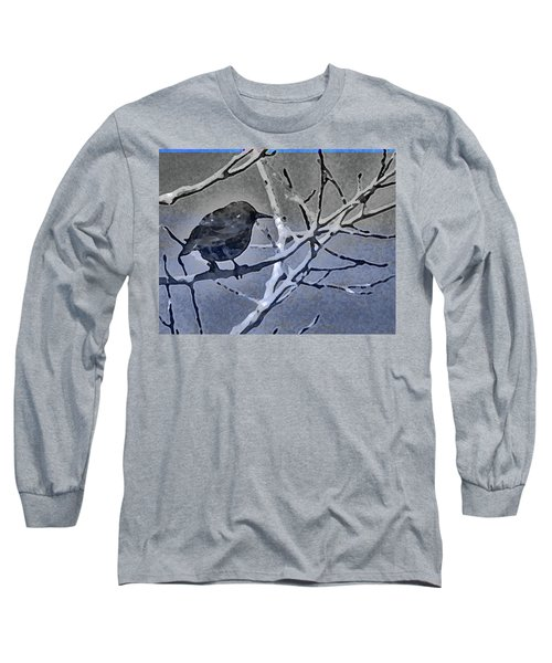 Bird In Digital Blue Long Sleeve T-Shirt