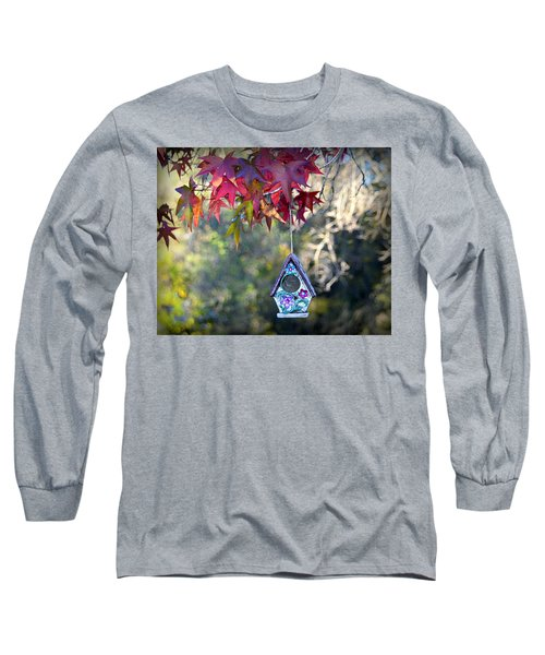 Long Sleeve T-Shirt featuring the photograph Birdhouse Under The Autumn Leaves by AJ Schibig