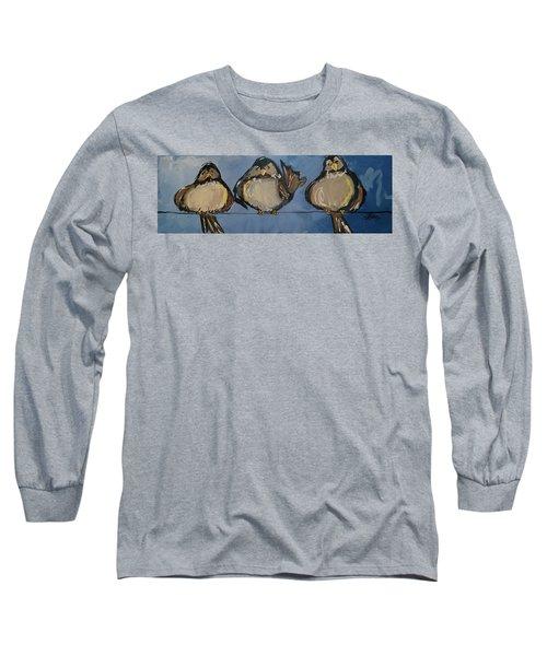 Birdies On A Wire Long Sleeve T-Shirt by Terri Einer