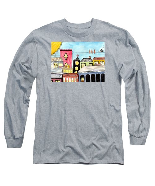 Long Sleeve T-Shirt featuring the painting Birds And Mouse On A Wire by Lou Belcher
