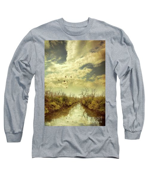 Long Sleeve T-Shirt featuring the photograph Birds Flying Over A River by Jill Battaglia