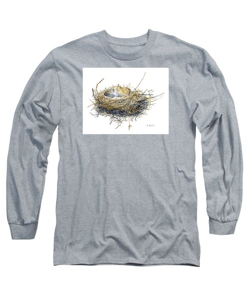 Bird's Nest Watercolor Painting Long Sleeve T-Shirt