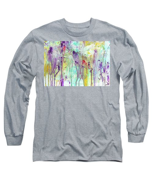 Birds On The Wire - Colorful Bright Modern Abstract Art Painting Long Sleeve T-Shirt