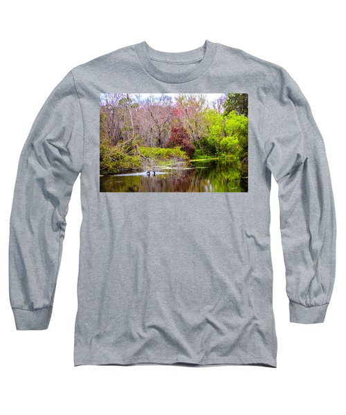 Long Sleeve T-Shirt featuring the photograph Birds Playing In The Pond 3 by Madeline Ellis